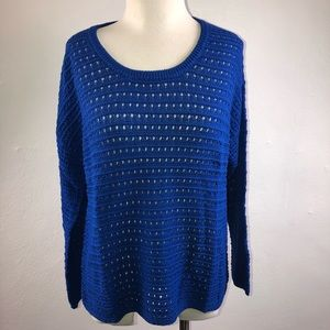 Style & Co Pointelle Pullover Sweater Blue Medium